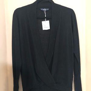 Black long sleeve draped sweater